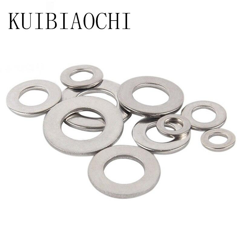 купить 100pcs DIN125 Washer M1.6 M2 M2.5 M3 M4 M5 M6 M8 304 Stainless Steel Flat Machine Washer ISO7089 Plain Washer недорого