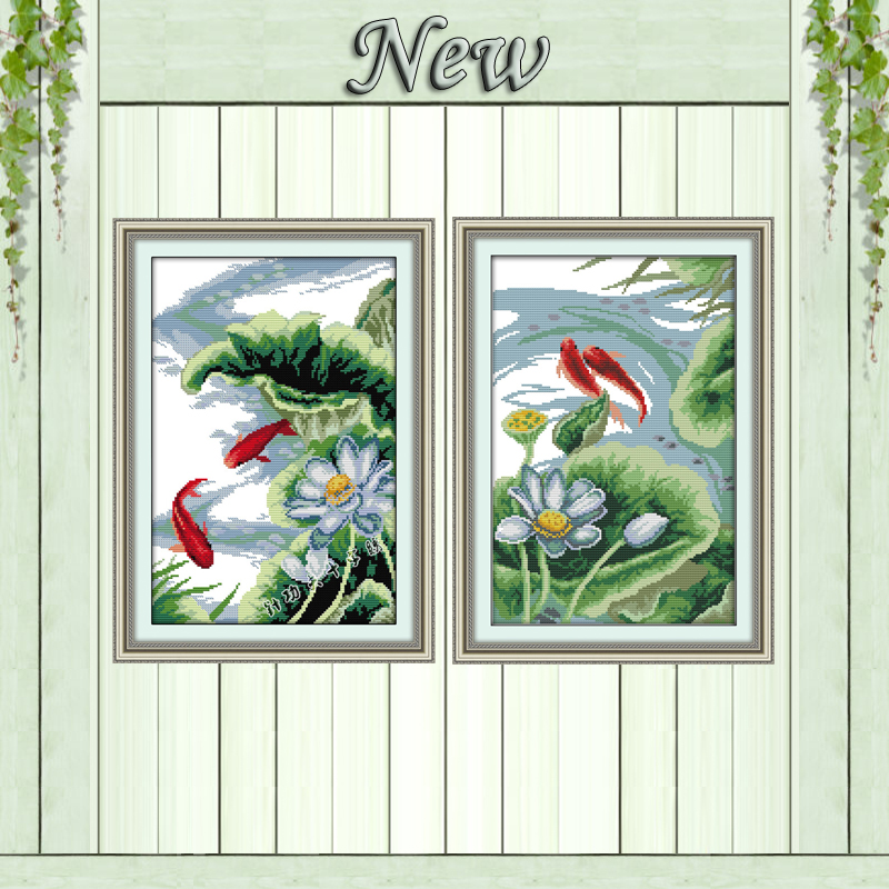 White Lotus And Carps Mascot Painting Counted Print On Canvas DMC 11CT 14CT Chinese Cross Stitch Kits Embroidery Needlework Sets