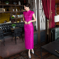 New Arrival Fashion Lace Long Cheongsam Hot Pink Chinese Women S Dress Elegant Qipao Vestidos Size
