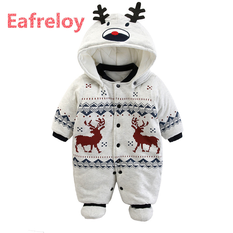 NEW Baby Rompers Winter Thick Warm Baby boy Clothing Long Sleeve Hooded Jumpsuit Kids Newborn Outwear for 0-12M warm thicken baby rompers long sleeve organic cotton autumn