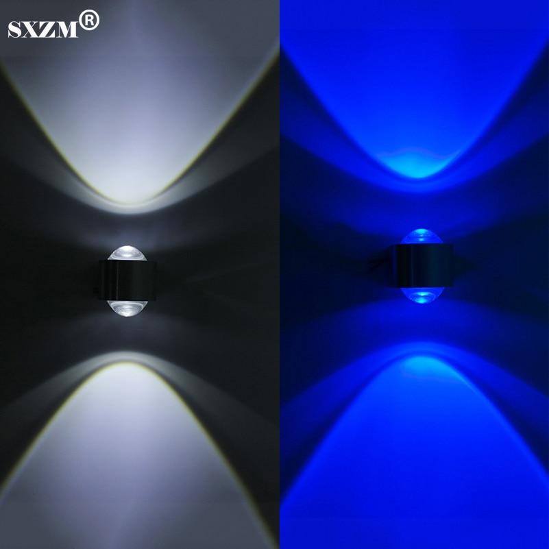 SXZM 2 W applique da parete a led parete di cristallo lente convessa AC85-265V includono LED driversilver argento alluminio bagno camera da letto lampada
