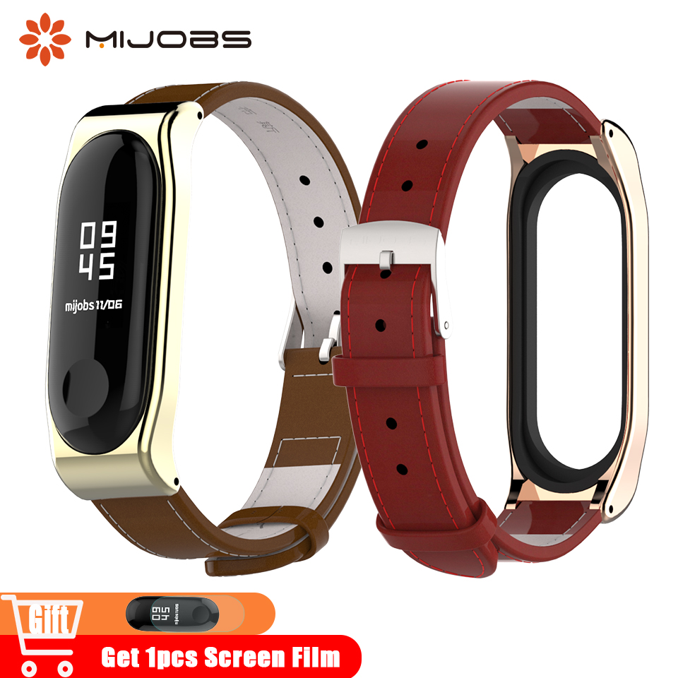Mijobs Genuine Leather Mi Band 4 Strap Bracelet For Xiaomi Mi Band 4 Bracelet Steel Accessories Smart Watch Miband 3 Wrist Strap
