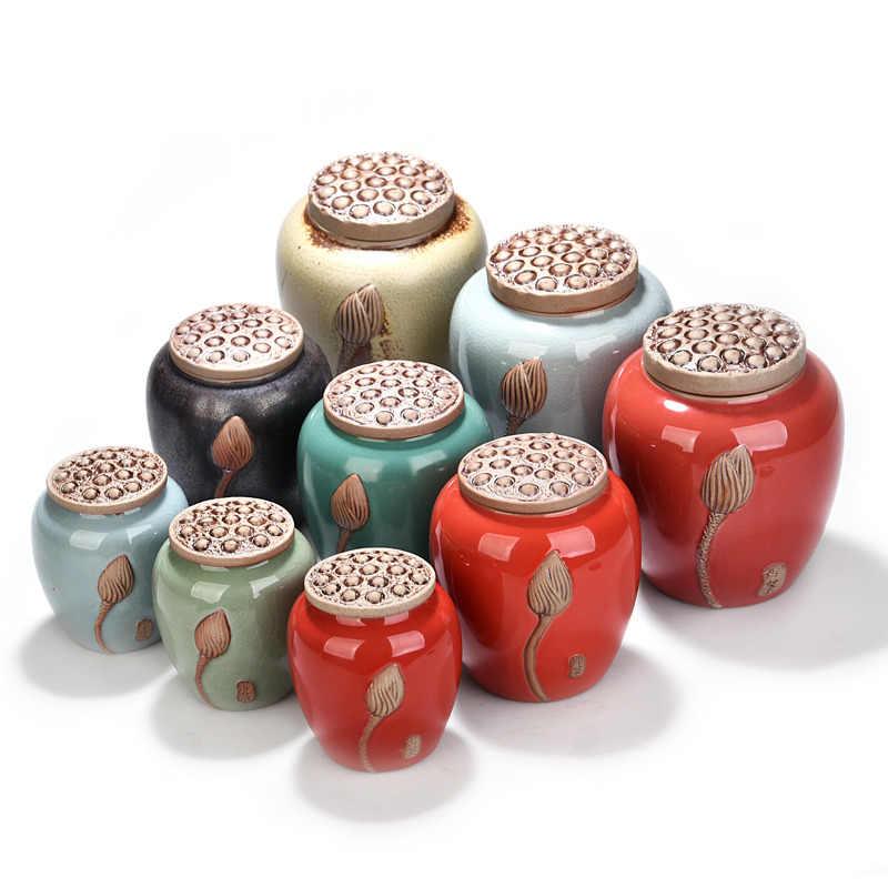النمط الصيني الرجعية الشاي أوعية الحفظ وعاء السكر الصغيرة مع غطاء لوتس نمط برطمان للحلوى زجاجة للمطبخ التوابل السيراميك جرة