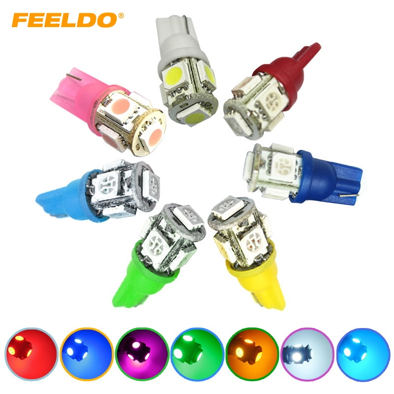 1Pc T10 5 SMD 5050 LED 194 168 W5W Car Side Wedge Tail Light Lamp Bulb Promotion white,red,blue,yellow,green,pink,ice blue #  100pcs t10 3w 360 degree wedge 5050 9 smd led bulb xenon white white warm white yellow red blue green car tail light