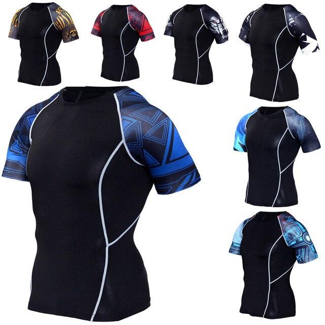 95ab0f13bc Homens Camisas De Compressão Skin Tight Térmicas sob Camisas Rashguard  Workout Exercício Crossfit Aptidão Sportswear de