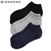 Giordano Men Ankle Socks Solid Cotton Meias Casual Breathable Calcetines Hombre Multi Color Socks 3-Pack Invisible