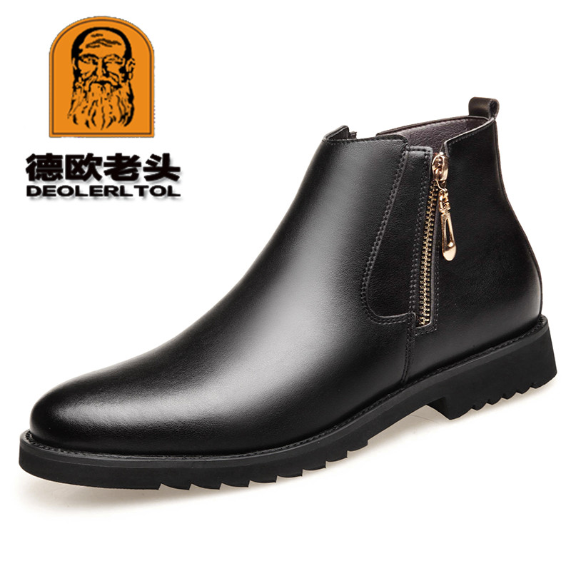 2019 New Man Microfiber Leather Boots Winter Leather Boots White Wool Inner Anti Slip Ankle Work Shoe 38-44 Man Two Zipper Boots