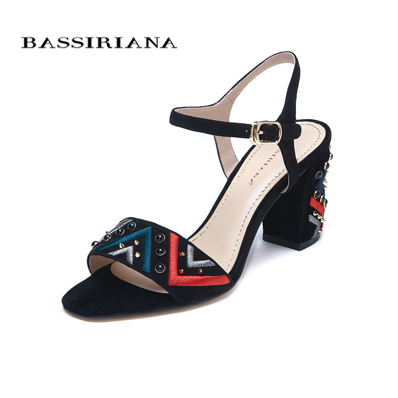 Sandals Genuine suede leather shoes woman summer medium heels Fashion square heel black blue 35-40 Free shipping BASSIRIANA free shipping 2016 summer patent leather square med heels sandals cover heel red black big size 33 40 41 42 43 woman shoes