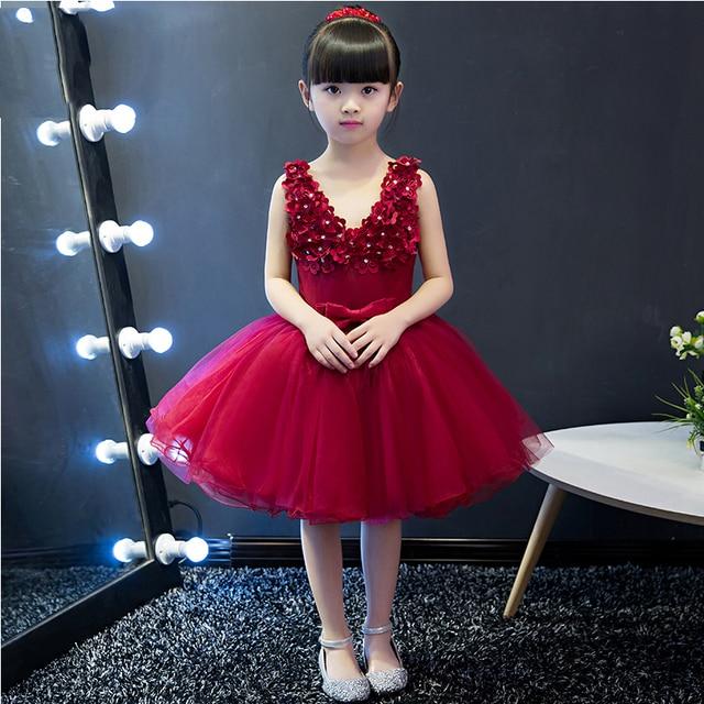 3de823ee1bb V Neck Flore Appliques Princess Gown Flower Girls Dresses Summer 2017 New  Knee-Length Ball