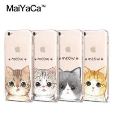 MaiYaCa Phone Case For iPhone 4s 5s 6s 7 plus Soft Transparent TPU Case Accessories Cover Cute Cartoon Meow