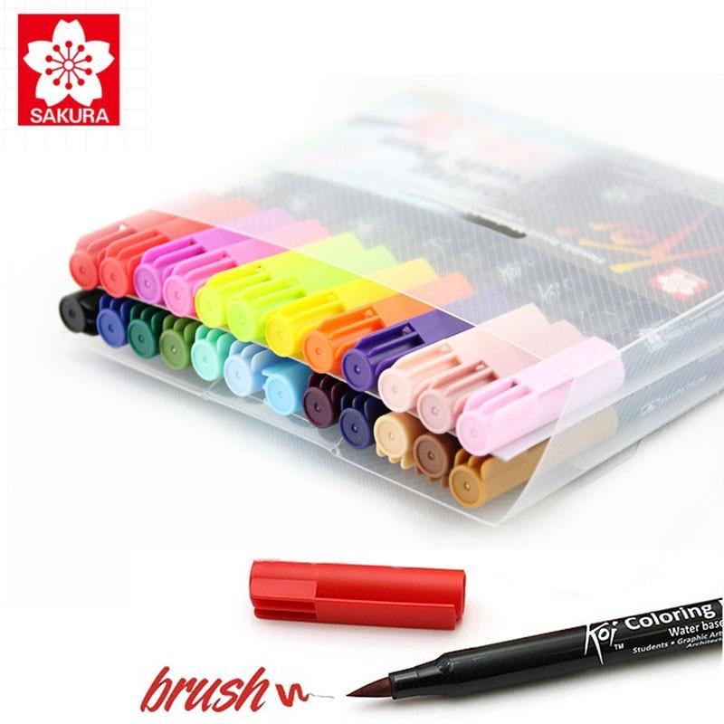 Sakura Koi stylo brosse à colorier 12/24/48 ensemble de couleurs marqueur de brosse Flexible stylo de couleur de l'eau à base d'encre peinture fournitures