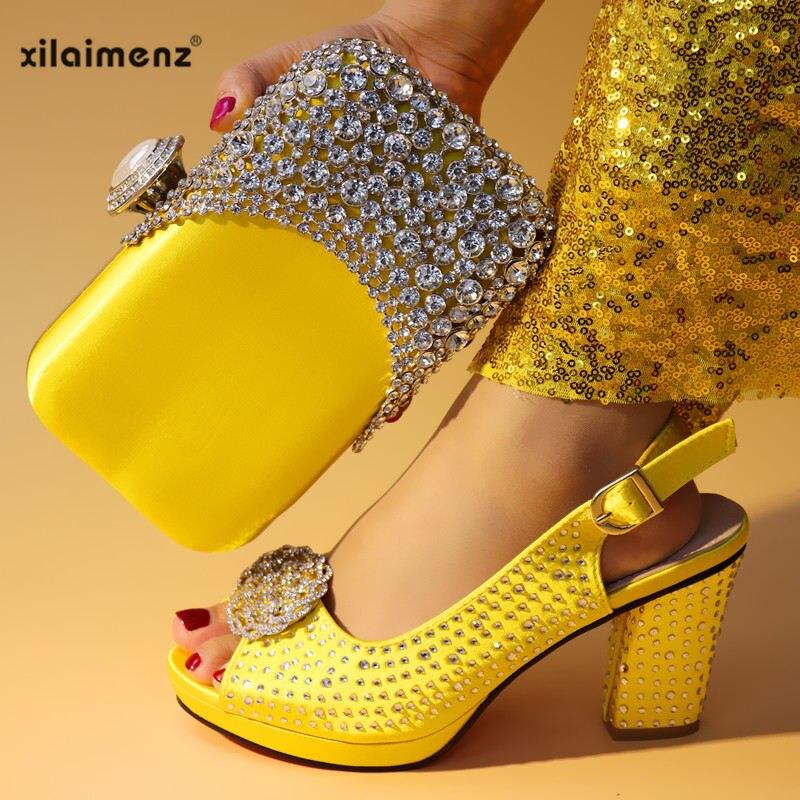 a0f35c06 Zapatos Tacones Diseño Black Bolsos Nuevo Cómodo CuadradosNigerianos Real  De pink fuchsia yellow Para Fiesta Y Negros Juego Con u35F1JTlKc