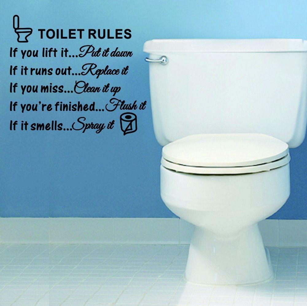 Toilet Rules Bathroom Toilet Wall Sticker Vinyl Art Decals DIY Home ...