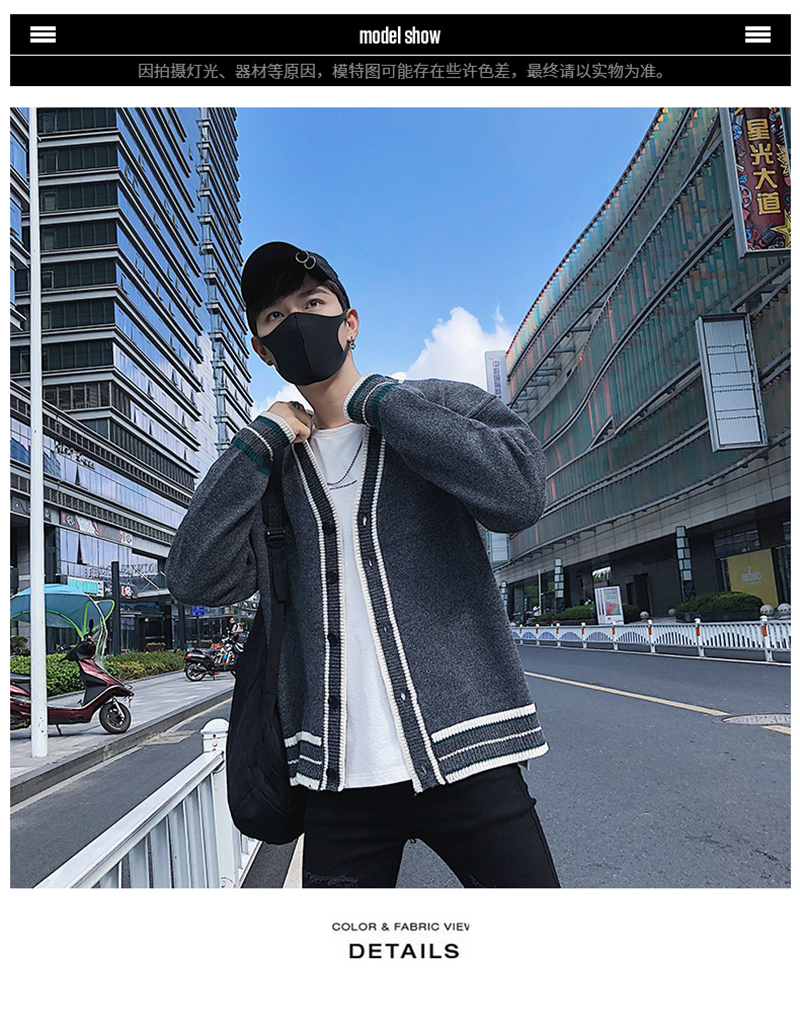 Check Button Cardigan Male Oversize Loose Streetwear (3)