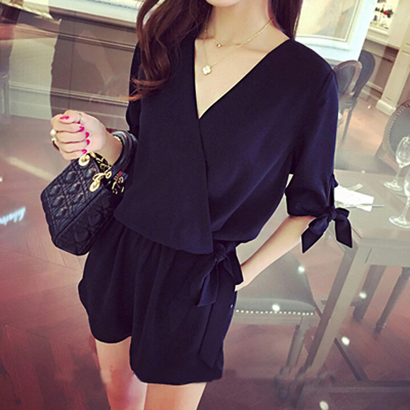 Sexy v neck summer   jumpsuit   romper Women Lace Up Tie black shorts playsuits Elegant bow High Waist Half sleeve overalls