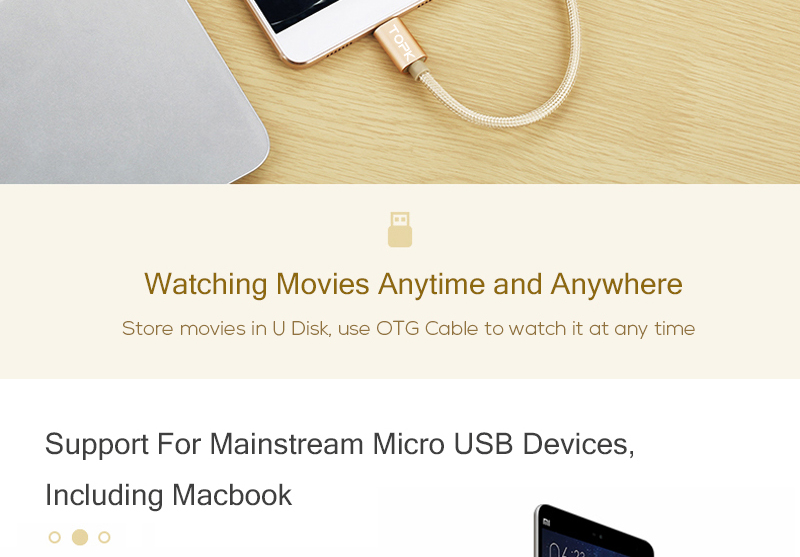 TOPK Micro USB 2.0 OTG Cable And USB OTG Adapter Or Converter Android Mobile Phones 8