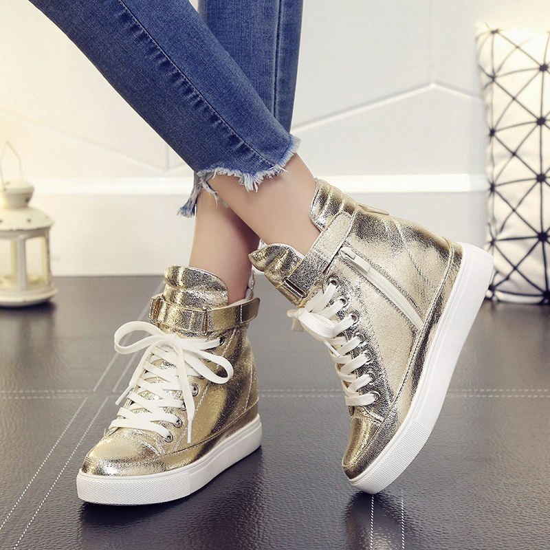 Women Casual Sneakers 2018 Autumn High Top Women Shoes Fashion Increase Ankle Shoes Flats Breathable Women Sneakers Golden