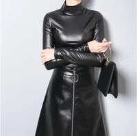 New 2017 European Women Autumn Winter Faux Leather PU Tee Top Black Solid Long Sleeve Turtleneck Slim Sexy Hot T shirt Style