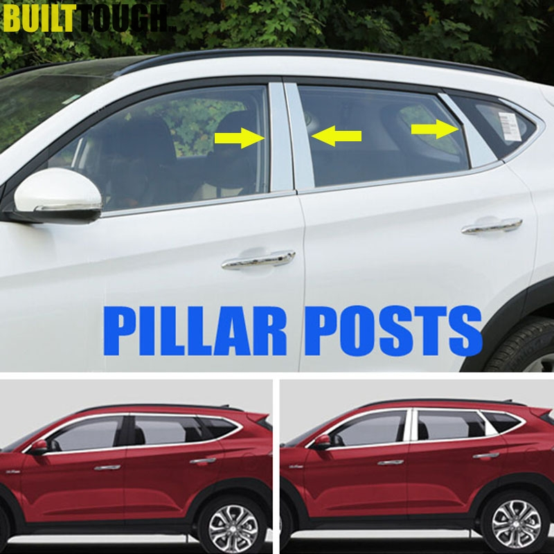 For Hyundai Tucson 2016 2017 2018 Chrome Side Door Window Pillar Post Posts Cover Trim Stainless Molding Garnish Decoration 6pcs