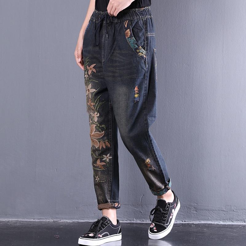 Lâche Lavé Nouvelle Pantalon Denim ewq Brodé Grande 2018 As D'été Show Taille Qc432 Unilatérale Mode Tideblue Femmes w0Pxqv7dP