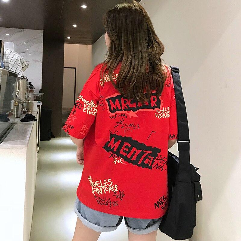 T-shirts Women Graffiti BF European Style Loose Harajuku Hip Hop Streetwear Chic Couple Clothes Unisex Daily Tshirt Womens Soft 70