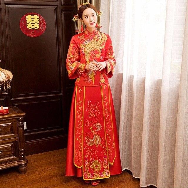 Grano rojo novia Dragon Phoenix Bordado vestido de boda chino qipao ...