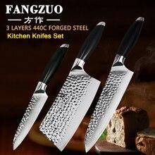 FANGZUO Нержавеющаясталь Ножи 440C кованые G10 ручка Пособия по кулинарии инструменты 8 «Шеф-Повар 5» Утилита 7 «Кливер Ножи Кухня набор ножей