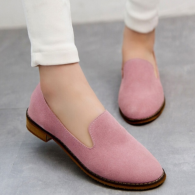 England Style Casual Fashion Women Shoes Retro Nubuck Leather Shoes Woman Flats Comfortable Round Toe Shoes Size 36-39