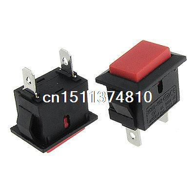 10 x 2 Pin Rectangular Red Button Momentary Pushbutton Switch AC6A/250V 10A/125V