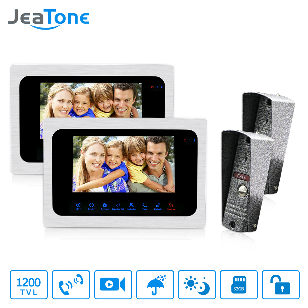 JeaTone Video Doorbell Phone Video Intercom Monitor 7 Door Phone Home Security Color TFT LCD HD Wired for House Office jeatone video phone home intercom audio doorbell 3 7mm pinhole cameras with 4 indoor monitor screen wired office intercom