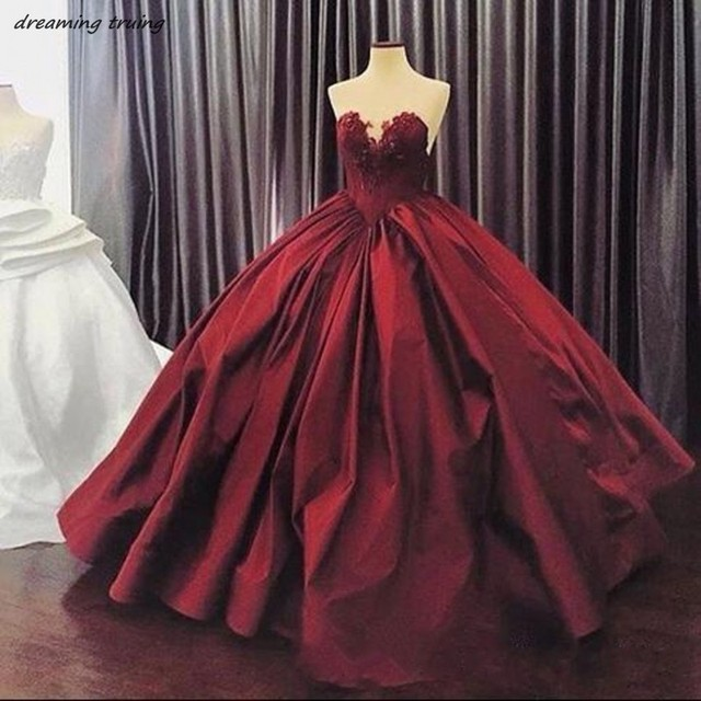 Burgundy Evening Dresses 2018 Custom Made Long Ball Gowns Prom Dress ...