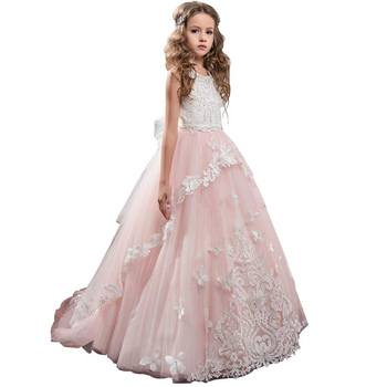 long girls pageant dresses with bow flower girls dress puffy kids ball gown deguisement enfant fille pink party dresses for girl