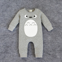 Childhood New Arrival Jumpsuit Baby Boy Baby Girl Rompers Gray&Pink 2 Color Totoro Long Sleeve Newborn Baby Clothes
