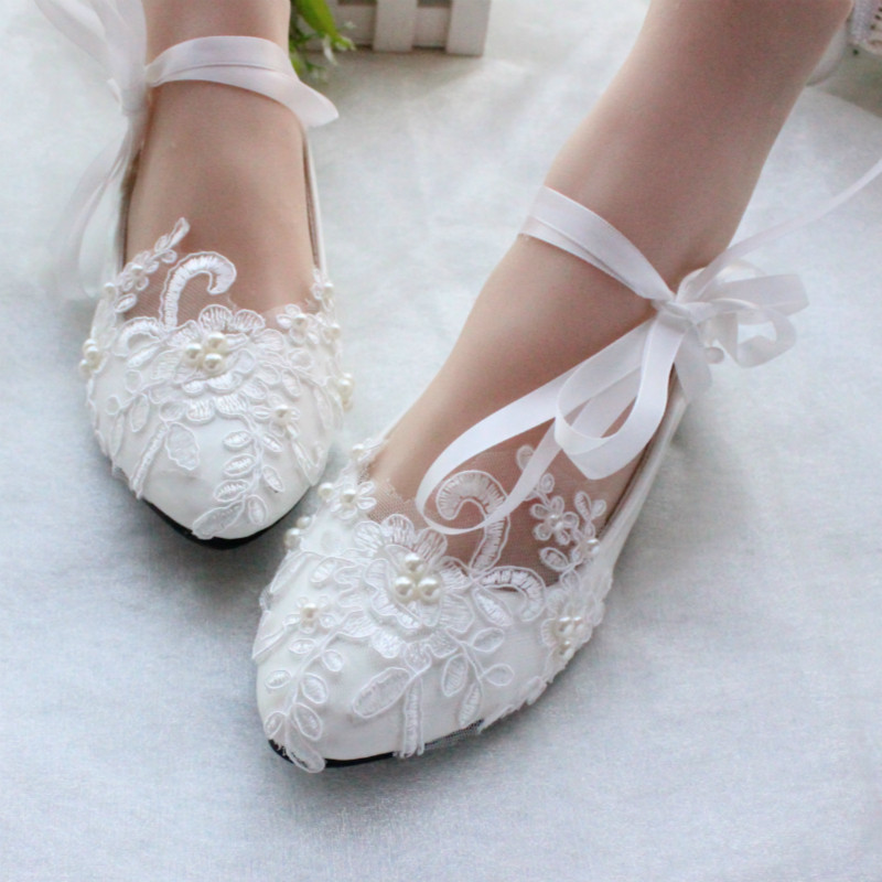 Heels Or Flats For Wedding: Free Shipping Women White Ivory Lace Pearls Wedding Shoes