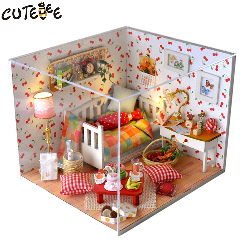 CUTEBEE Doll House Miniature DIY Dollhouse With Furnitures Wooden House Toys For Children Birthday Gift TW12 cutebee doll house miniature diy dollhouse with furnitures wooden house toys for children birthday gift home decor craft m017