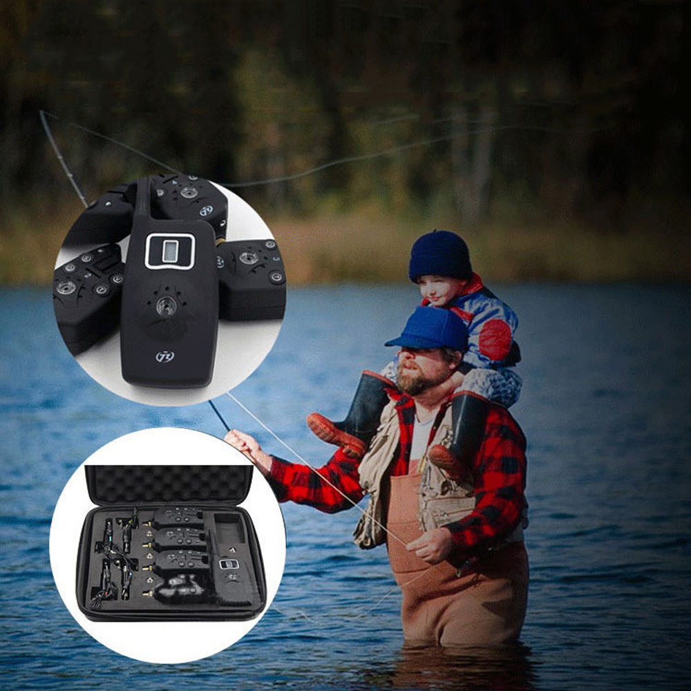 Eleoption Set 4 pcs Wireless Digital Fishing LED Alarm Alert Set 4 Bite Alarm & 1 Receiver