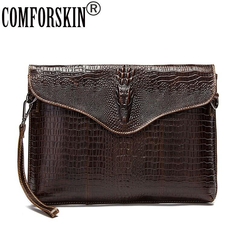 COMFORSKIN Guaranteed Luxurious 100% Cowhide Leather Crocodile Pattern Men Messenger Bag Hot Crocodile Head Men Shoulder Bag luxurious crocodile pattern shoulder bag 100