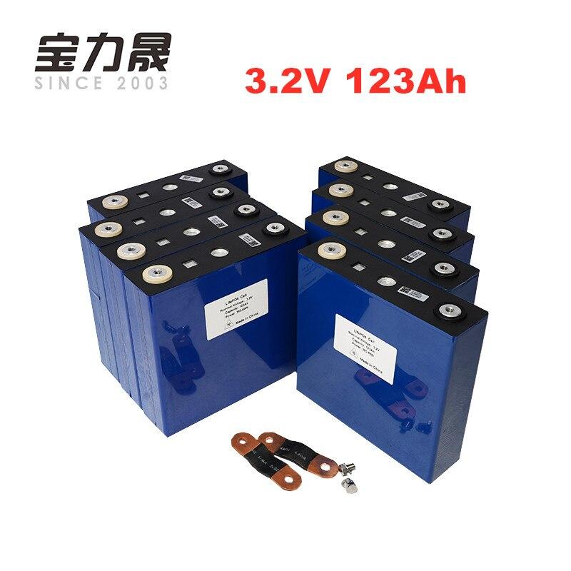 Nueva batería 8 piezas 3,2 V 120Ah lifepo4 US EU libre de impuestos UPS o FedEx 4000 ciclo LFP lithium solar pilas solares 123ah 24V120Ah
