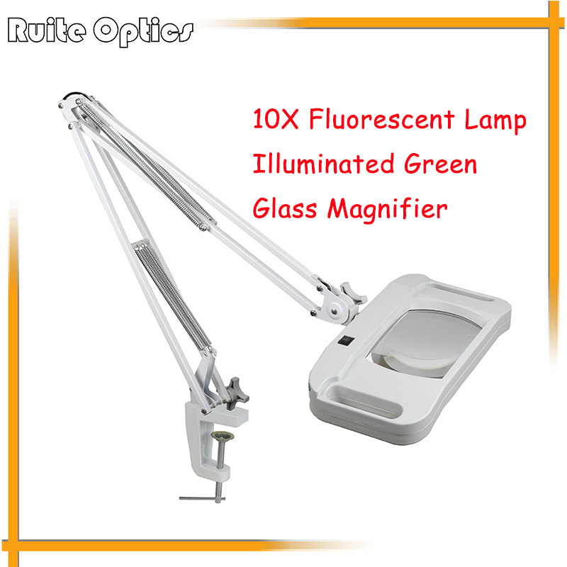 220V 10X Large Desk Clip-on Illuminated Green Optical Glass Magnifying Glass Folding Stand Big Lamp Magnifier With Light