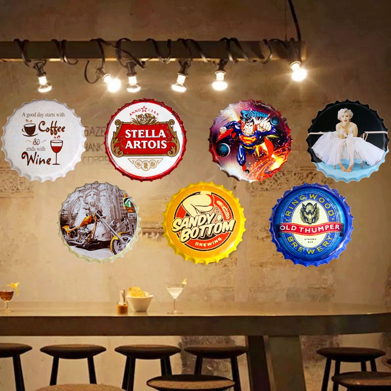 35cm Vintage Home Decor Beer Round Bottle Cap Tin Signs Art Wall ...