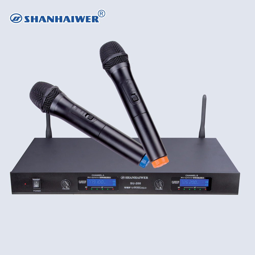 uhf double channel digital handheld wireless microphone aa batteries microphone transmitter. Black Bedroom Furniture Sets. Home Design Ideas
