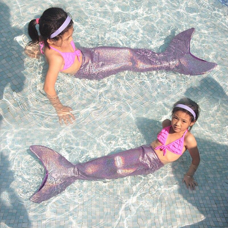 2018 noël carnaval natation queue de sirène avec Monofin pour filles natation queue Costume vêtements 3 couleurs