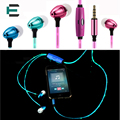 LED Flashing Light Glowing headphones Sports Stereo In-ear Earbud Earphone with Microphone for Android IOS Mobile phone MP3 MP4