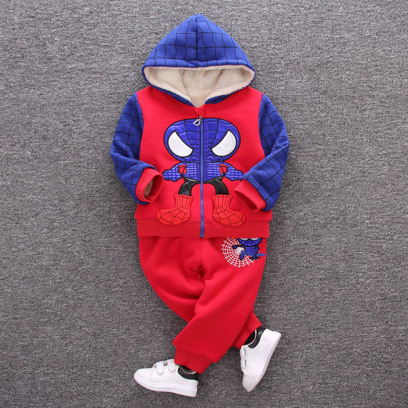 2017 Winter Kids Plus Velvet Sweatshirts Hoodies Thick Cotton Baby Boys Warm Cashmere Spider Coat Pants 2Pcs Clothes  Sets
