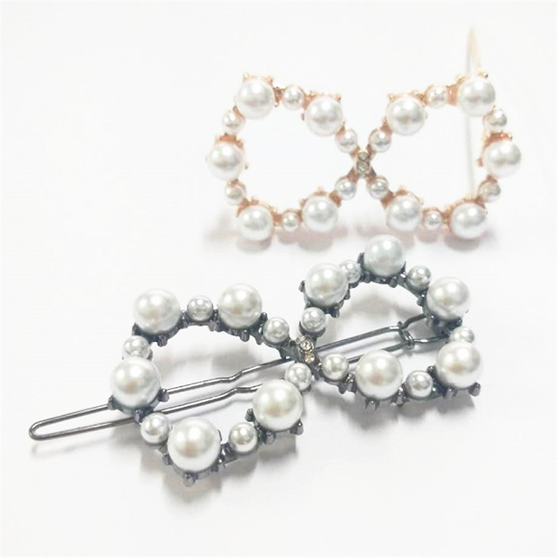 Faux Pearls Barrettes 8 Hair Clips Glitter Hairpins Pearl Wrapped Geometric Bobby Pin Headdress For Women Ladies Girls Jewelry