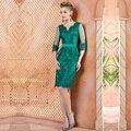Lindo Bainha Applique Mãe dos Vestidos de Noiva Com Jaqueta Na Altura Do Joelho Lace Frisada Vestidos de Madrinha Com Mangas 3/4 M145