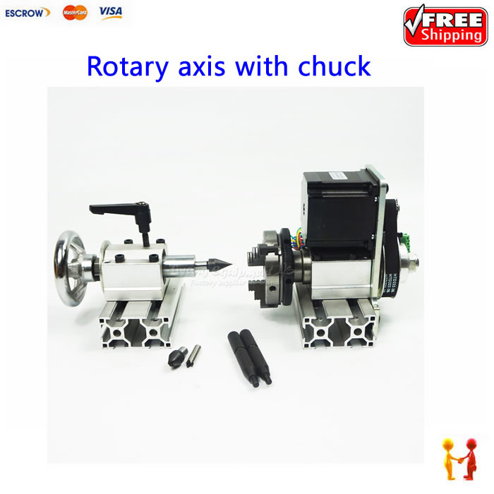 CNC machinery part Rotary axis with chuck 4th axis for diy cnc milling router