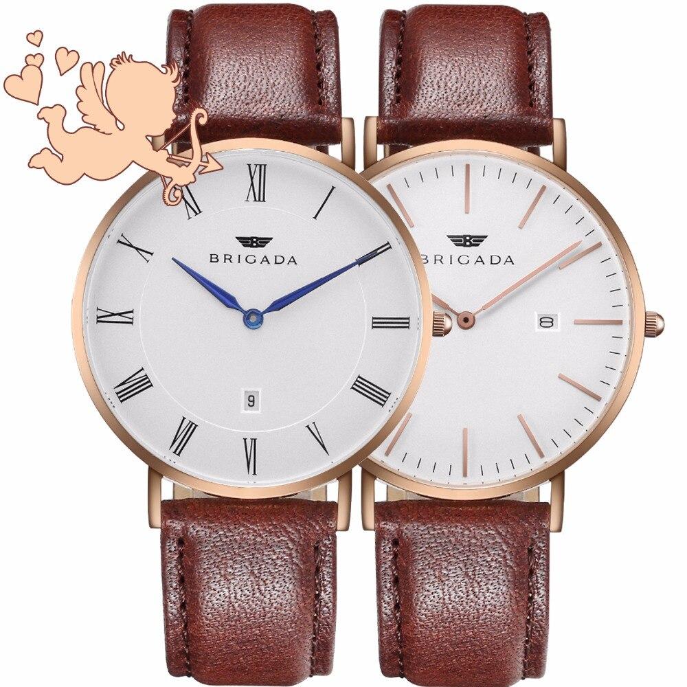 BRIGADA минималистичные модные швейцарские часы для влюбленных пар отличный подарок для кого то или себя