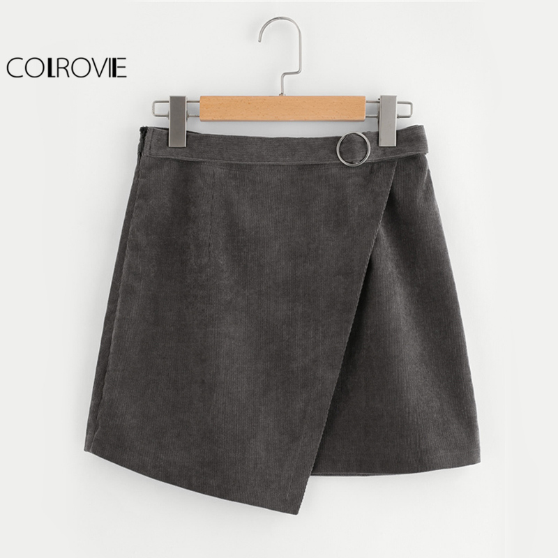 COLROVIE Corduroy Wrap A Line Skirt Women O-Ring Belt Grey Cute Mini Autumn Skirts Fashion Empire Ladies Brief Casual Skirt