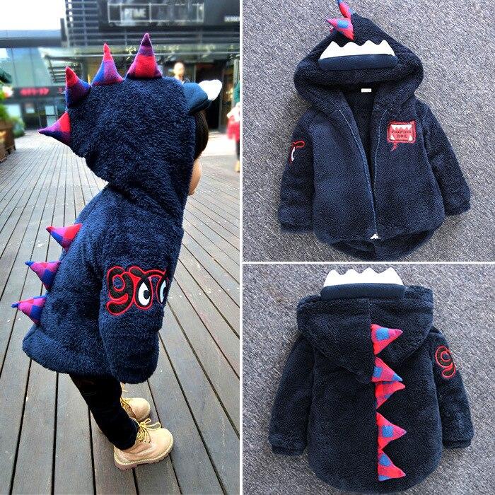 2016 Новое пальто из флиса для маленьких мальчиков Синее утепленное пальто с капюшоном динозаврик Очаровательная куртка для девочек и мальчи...
